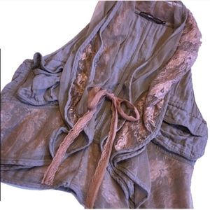 Anthropologie | Hazel taupe lace vest